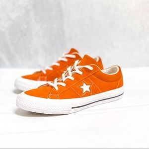CONVERSE Orange Suede One Star Low Top Sneakers Size 2 Youth
